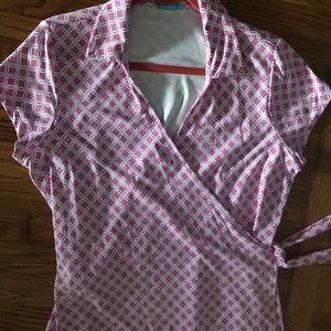 J. McLaughlin XL Short Sleeve Wrap Dress
